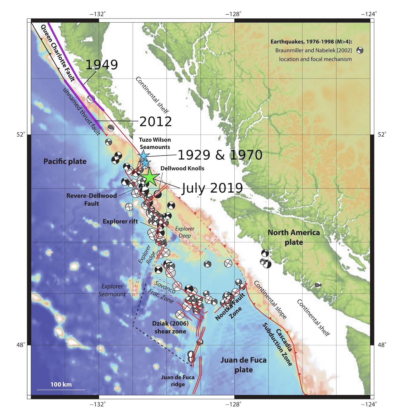 Western Canada Earthquake Map Earthquake Just North of Cascadia is Felt Along Canada's West