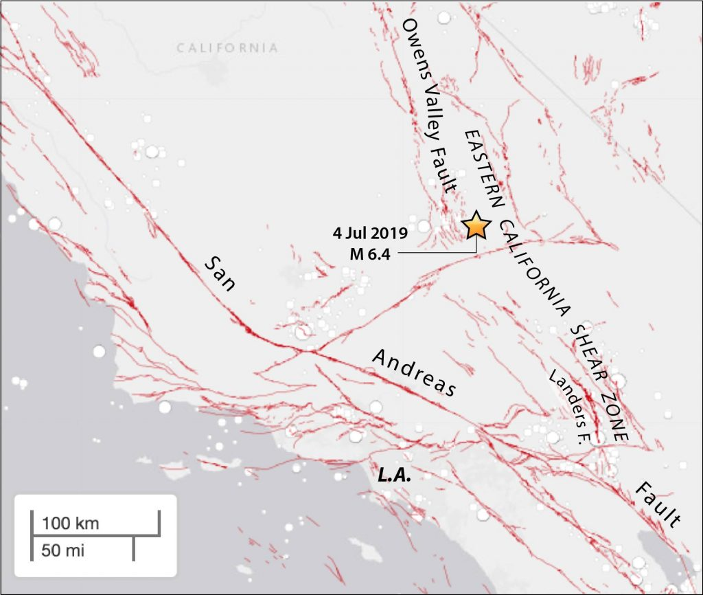 The 'Eastern California Shear Zone,' within which the 4th July shock struck, rivals the San Andreas for great quakes, producing a M~7.6 shock in 1872, a M=7.3 shock in 1992, and a M=7.1 shock in 1999.