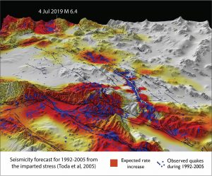 The 4th July quake struck where the background rate of shocks is high, and where stress was transferred by the 1992 earthquake.