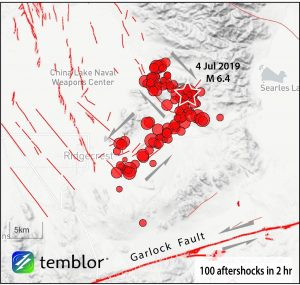 Temblor app map of the mainshock and its first two hours of aftershock suggests that two orthogonal faults have ruptured together. The inferred sense of slip is represented by the half arrows.