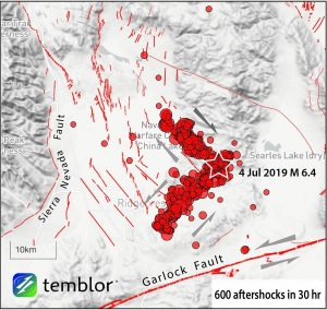The aftershock pattern of the earthquake strongly suggests that it nucleated near the corner of two perpendicular faults and ruptured both of them.