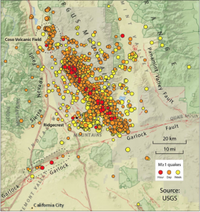 One can see 8-10 small shocks on the Garlock Fault (lower left), and a large cluster at Coso Volcanic Field (upper left).