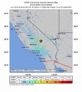 The 'Did You Feel It?' map from the USGS shows the intensity of shaking reported by users throughout Southern California. The black star indicates the epicenter near Ridgecrest, CA.