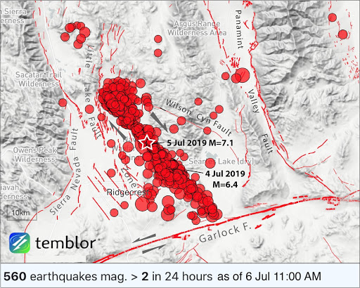 M 7.1 SoCal earthquake triggers aftershocks up to 100 mi ...