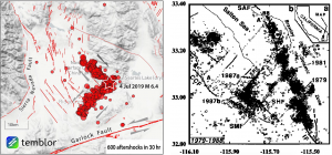 The aftershock pattern of the earthquake (left) strongly suggests that it nucleated near the corner of two perpendicular faults and ruptured both of them. This behavior is reminiscent of the 1987 Elmore Ranch and Superstition Hills earthquakes in the Salton Sea region (right; figure from Hudnut et al., 1989).