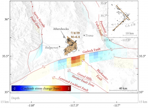 The M=6.4 Ridgecrest earthquake likely imparted a Coulomb stress increase of up to about 1 bar to the nearby Garlock Fault.