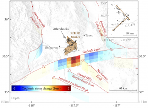 The M=6.4 Ridgecrest earthquake likely imparted a Coulomb stress increase of nearly 2 bars to the nearby Garlock Fault.