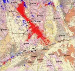 Geologic map of the Ridgecrest area (Jennings et al., 1962), labeled by type of bedrock. The yellow veneer of sediments blanket some of the bedrock. Aftershocks of the Ridgecrest sequence are red; the preceding decade of quakes are blue.