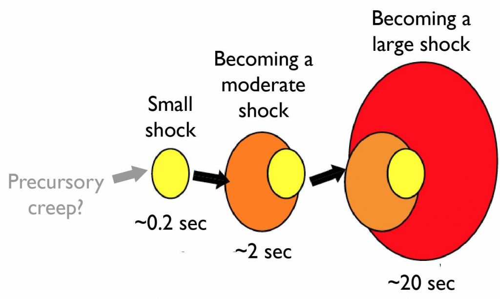 Schematic depiction of the 'cascade' interpretation of earthquake nucleation and growth. Ide found that during the first 0.2 seconds, all shocks look alike. In other words, nothing marks those little shocks for future greatness. Whether some or all shocks are preceded by creep is unknown.