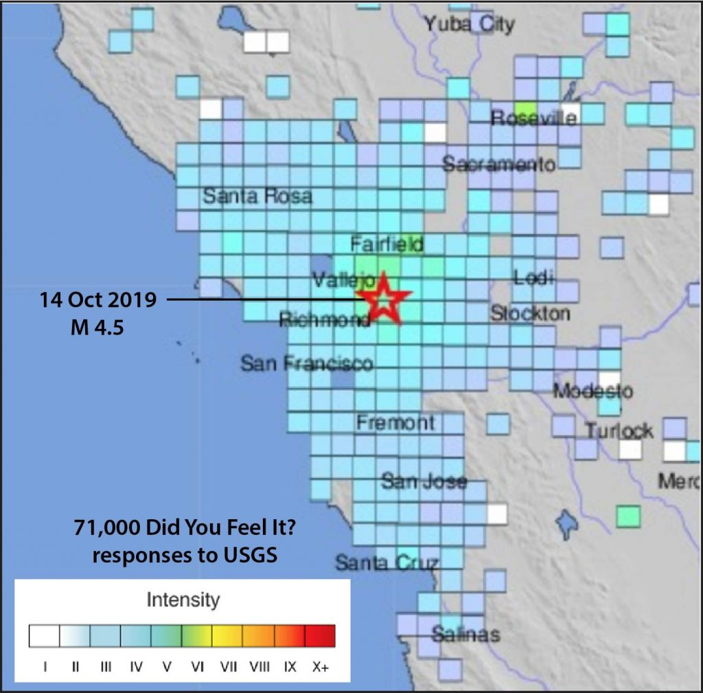 USGS Did You Feel It? responses to the 14 October 2019 Pleasant Hill shock.