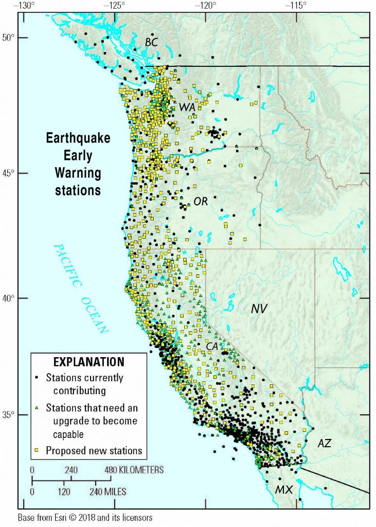 Data from approximately 900 seismic stations contribute to ShakeAlert as of January 2019, with 600 stations in California. The planned density is for 1,675 seismic stations, as allowed by funding. Credit: ShakeAlert: https://www.shakealert.org/