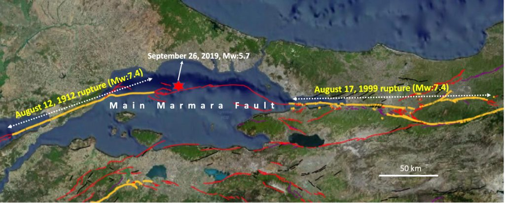 Location of the Main Marmara Fault and major earthquakes during the instrumental earthquake period in the years between 1900 and 2019. Modified from the active fault map of General Directorate of Mineral Research, Turkey.