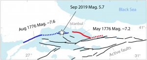 Large-double earthquakes caused heavy damage to Istanbul in 1776 (Modified from Parsons et al. 2000), Solid Blue and Red lines show the ruptures, Dashed lines show the maximum possible extent of the ruptures based on damage observations.