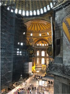 Hagia Sophia in Istanbul has been subject to large earthquake damages since its construction in the year 537, (1482 years ago). It enlightens seismologists about the size of the historical earthquakes thanks to its earthquake damage and repair record.