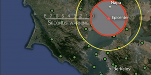 From the epicenter of the 2014 magnitude 6.0 Napa earthquake (red star), the P-wave (yellow circle) raced ahead of the more damaging S-wave (red circle). The blind zone, for which no warning was possible, is shown by the solid gray circle with a red slash. Small green circles show seismic stations. Credit: video produced by the Incorporated Research Institutions for Seismology (IRIS).