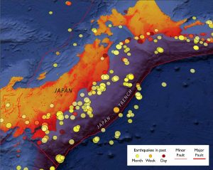 Ide culled seismograms from the profusion of earthquakes that strike off the east coast of Japan, where the Pacific Plate plunges beneath the Japanese archipelago. Here we show the past month of magnitude-3 and larger shocks during the past month from the Temblor app.