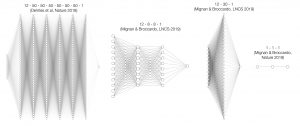 What is the simplest architecture possible to mimic the behavior of aftershocks in space? Figure modified from Mignan & Broccardo (2019c). All these neural network architectures—from the most complex at left to the simplest at right—yield similar results. Following Occam's Razor, the simplest (one unique neuron, also known as logistic regression) is likely correct. Plots generated using http://alexlenail.me/NN-SVG/.