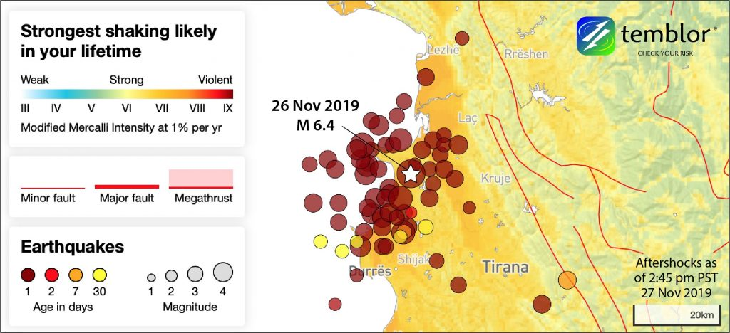 Map showing Temblor's globally consistent PUSH (Probabilistic Uniform Seismic Hazard) model, together with earthquakes principally from the EMSC catalog. The region is one in which residents should expect powerful shaking in their lifetimes. The aftershock distribution is roughly perpendicular to the presumed NW-SE oriented thrust fault.