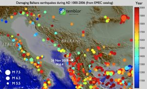 Figure from Sevilgen et al. 2014 showing the 'EMEC' instrumental and historical earthquake catalog (Grünthal and Wahlström, 2012). The earthquake catalog extends to AD 1000; however, it is incomplete until about the past century, meaning that not all M≥5.5 quakes were recorded due to lack of seismometer coverage. But even when restricted to that time period (red shocks), the site of the 25 Nov 2019 quake is among the most active anywhere in the Balkans or Italy.