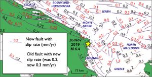 Koci et al. (2011) and Kastelic et al. (2016) identified active faults in the region for the European SHARE project using satellite imagery and field mapping (with inferred fault slip rates in black numerals), and they subsequently remapped the region (revised fault slip rates in red numerals; Sevilgen et al., 2014). One can see that thrust faults near the 26 Nov 2019 epicenter are about 75 km long with slip rates of ~1 mm/yr. That would mean that M~6.4 quakes on these faults would have mean inter-event times of roughly 500-1,000 years.