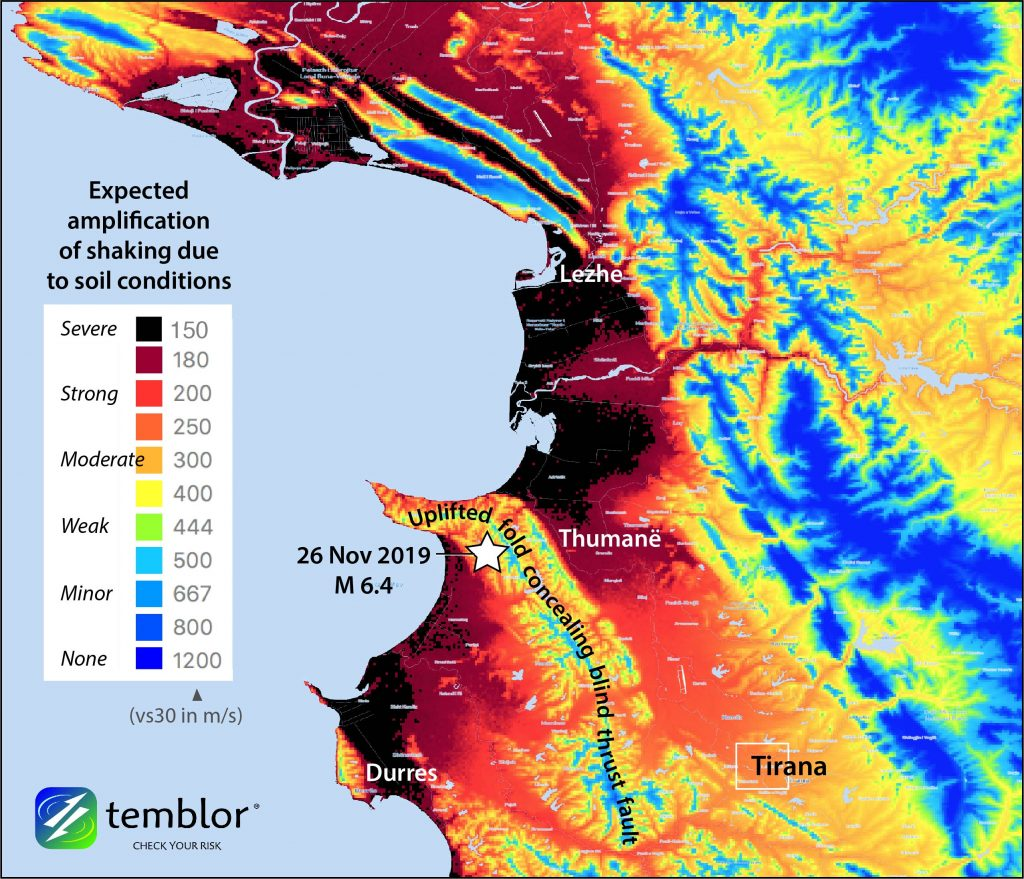 Temblor's STAMP high resolution (200 m) model of site amplification reveals that in Thumanë, Durres, and Lezhe, the shaking could have been severely amplified, contributing to the damage of weak buildings. Areas in black likely shook four times higher than those in yellow. The black areas are water-saturated coastal estuaries and plains that might also liquify when shaken violently, which can cause buildings to sink and tilt, rendering them a total loss. The fault on which the Mag. 6.4 quake struck is probably concealed by a growing fold.