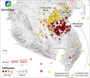 Map generated December 15, 2019 showing the locations of the magnitude-6.8 mainshock and most recent aftershocks. Credit: Ross Stein, Temblor