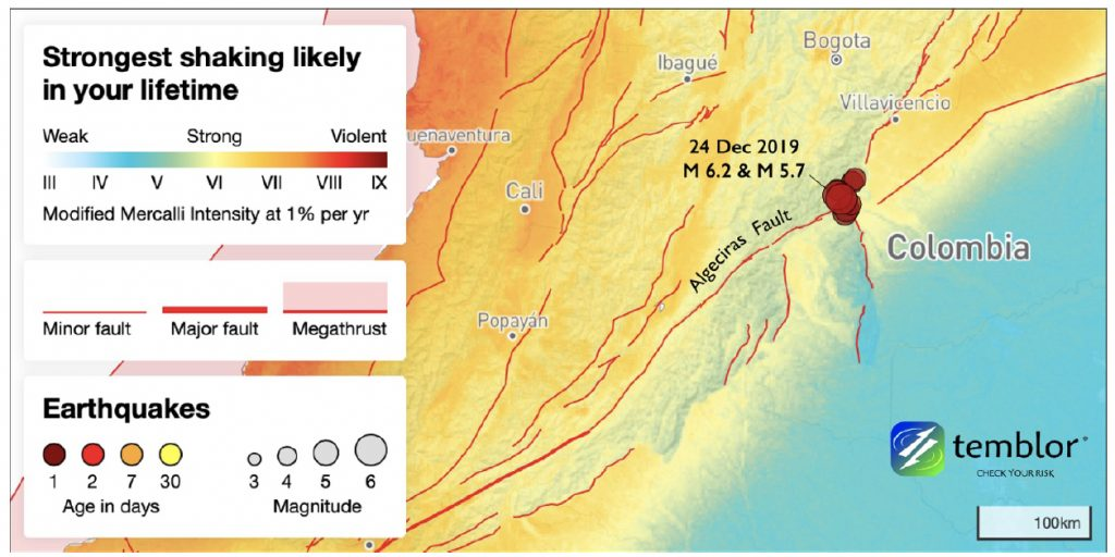 The magnitude-6.2 and magnitude-5.7 earthquakes struck at the junction of several faults, in a location where strong shaking is expected over a person's lifetime. In this map, sediment-filled basins would be expected to experience more intense shaking than the highlands. The expected shaking is from Temblor's PUSH (Probabilistic Uniform Seismic Hazards) model, which is available worldwide.