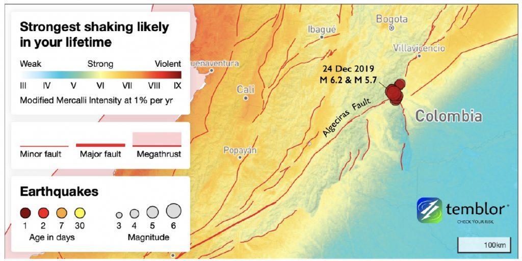 Los sismos M6.2 y M5.7 ocurrieron cerca a la unión de varias fallas, en un lugar donde se espera movimiento fuerte durante un tiempo de vida promedio. En este mapa, se esperan movimientos más fuertes en las cuencas sedimentarias que en las montañas. La sacudida esperada es tomada del modelo PUSH de Temblor (Amenaza Sísmica Probabilística Uniforme), disponible globalmente.