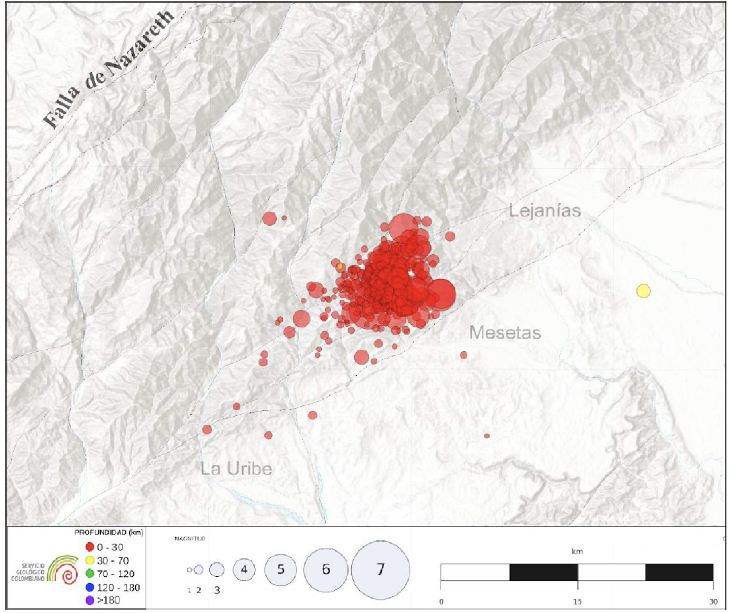Aftershocks reported by the National Seismological Network at the Colombian Geological Survey (RSNC).