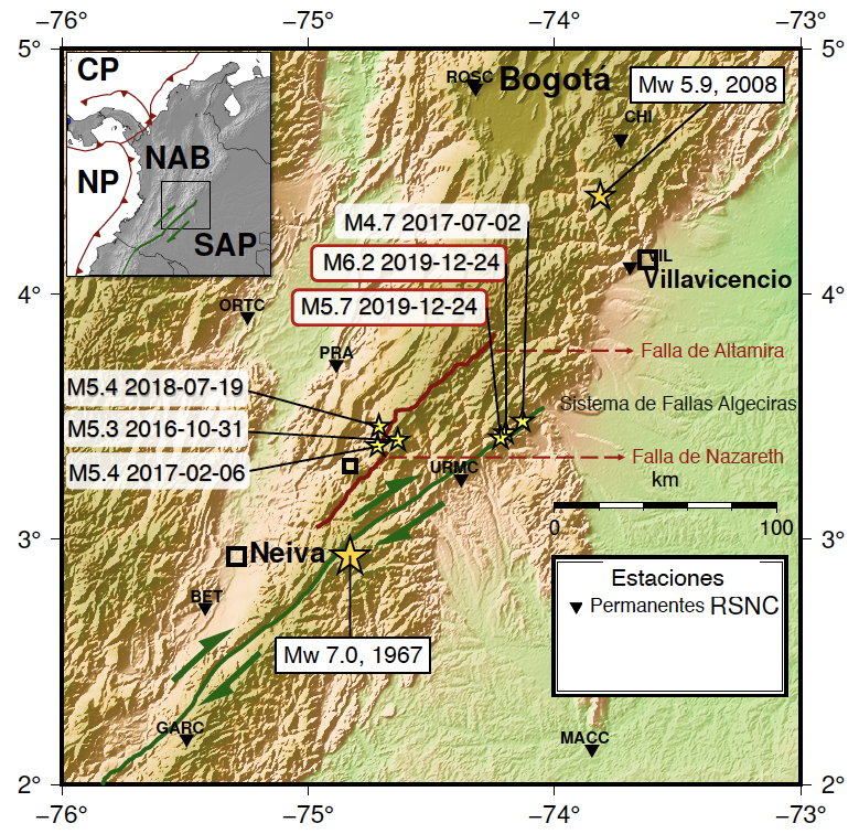 Terremotos históricos y recientes en la cordillera Oriental cerca de Bogotá. Las flechas verdes indican el sentido de movimiento del Sistema de fallas de Algeciras. A la izquierda se muestra la secuencia sísmica de Colombia, Huila de 2016,2017 y 2018. En el centro y resaltados en rojo los terremotos de navidad. El mapa en la esquina superior izquierda muestra la configuración tectónica de Colombia. CP indica la Placa Caribe, NP Placa de Nazca, NAB es el Bloque Norandino y SAP la placa Suramericana.