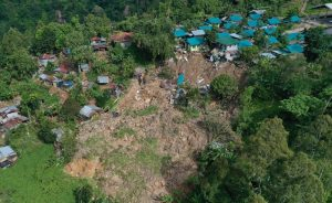 A landslide that buried houses in its path near Kidapawan City was triggered by the Cotabato earthquake sequence in October. Credit: PHIVOLCS