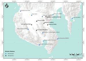 Regional seismic stations, both temporary and permanent, on Mindanao Island. Credit: PHIVOLCS
