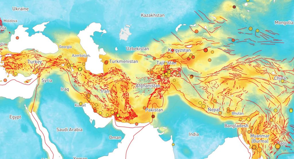 Temblor's Probabilistic Uniform Seismic Hazard (PUSH) model for Eurasia, showing the strongest shaking expected in your lifetime. Earthquakes from the past 30 days are also plotted. Image was generated December 30, 2019. Credit: Ross Stein, Temblor
