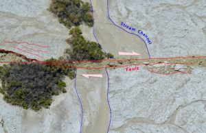 The Ridgecrest fault offsets a steam channel by 4.20 meters in the dry China Lake bed. Credit: Kenneth Hudnut, USGS.