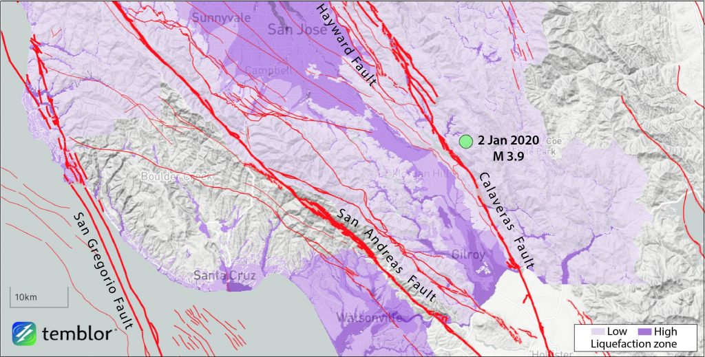 Map showing epicenter (green dot) of magnitude-3.9 earthquake near Morgan Hill. The quake probably struck on a subsidiary of the Calaveras Fault. Credit: Ross Stein, Temblor.