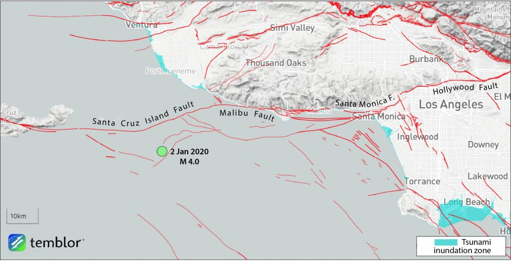 Map showing epicenter of magnitude-4.0 earthquake off the coast of Port Hueneme. The quake is located south of the trace of the Santa Cruz Islands Fault. Notice that although geologists use different names, the Santa Cruz Island, Malibu, and Santa Monica Fault are likely continuous, and potentially capable of a M~7.5 shock, according to Stein. Given their thrust motion, a tsunami could be generated by such a rare but possible quake. Credit: Ross Stein, Temblor.
