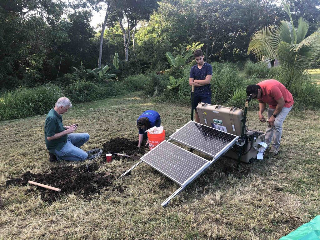 Installation of one of six USGS temporary real-time seismic sites deployed in southwestern Puerto Rico. These stations correspond to the blue triangles in the previous image. Credit: Alberto López