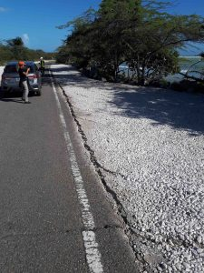 Lateral spreading parallel with the Caribbean Sea coastline, along road PR-333 near Guánica. Credit: Stephen Hughes