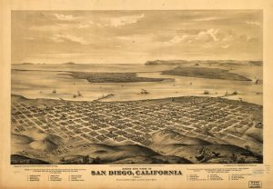 This bird's-eye view of downtown San Diego was drawn by Eli Glover in 1876. Prior to the development of downtown San Diego, the Rose Canyon Fault Zone was expressed on the surface and can be seen laterally offsetting topographic features. Credit: Library of Congress, Geography and Map Division.
