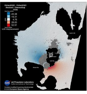 """Unwrapped interferogram showing total ground displacement in the line-of-sight of the satellite. Geographic and color sequence explanation added by Temblor. """"LOS displacement"""" label stands for line-of-sight displacement in centimeters. Credit: Mary Grace Bato and Paul Lundgren, NASA JPL-Caltech, ESA"""