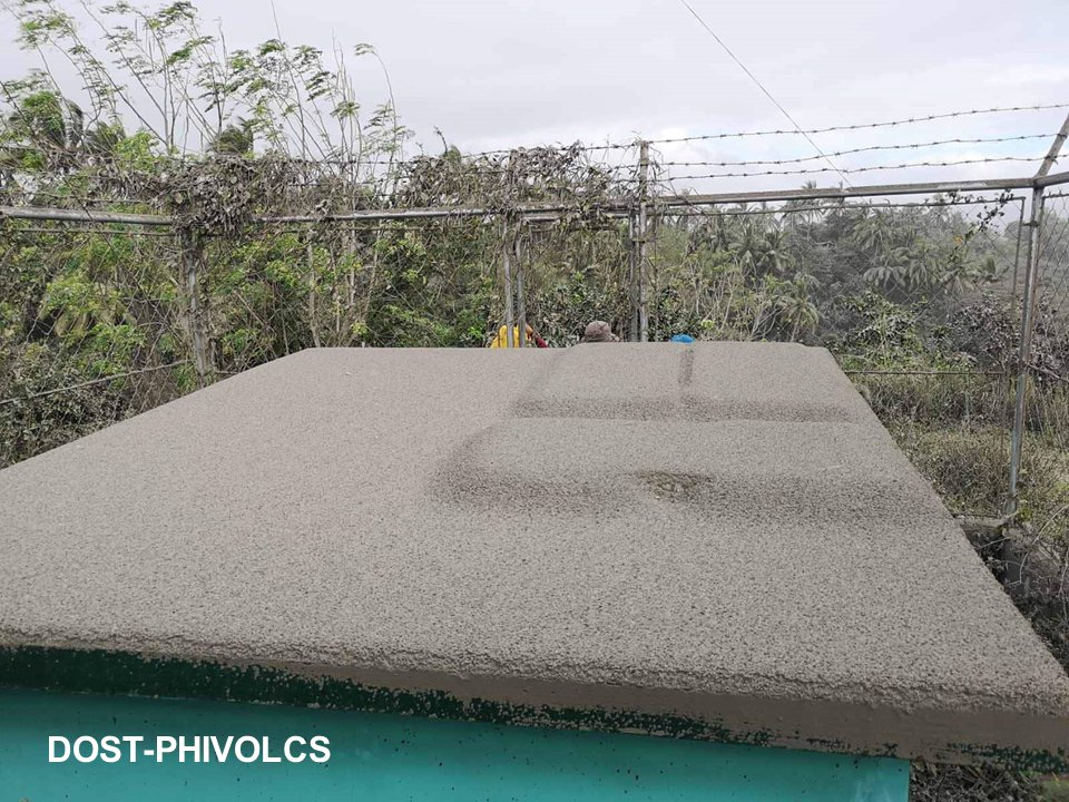 Ash accumulation on a rooftop, as shown here, can lead to collapse. Credit: PHIVOLCS