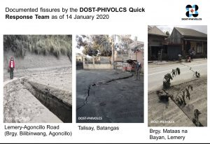 On Tuesday, Jan. 14, PHIVOLCS teams documented many examples of fissures around Taal. Credit: PHIVOLCS