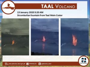 On Monday, January 13, 2020, lava fountains were observed. Credit: PHIVOLCS