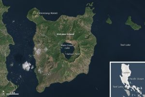 Satellite image from Landsat 8 of Volcano Island, in Taal Lake. Notice the Main Crater Lake within the island, with Vulcan Point poking out. Credit: NASA Earth Observatory image by Joshua Stevens