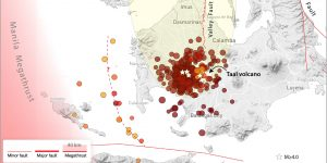 Map showing seismicity for the past 30 days in the region around Taal, as of Jan. 13, 2020. Earthquakes are from the PHIVOLCS earthquake catalog. The vast majority of these quakes have happened in the past few days, and tend to be less than magnitude-4.0. Quakes larger than magnitude-4.0 are marked by stars. The ash plume is based on satellite imagery taken after the eruption commenced on Sunday, Jan. 12, 2020. Credit: Ross Stein, Temblor