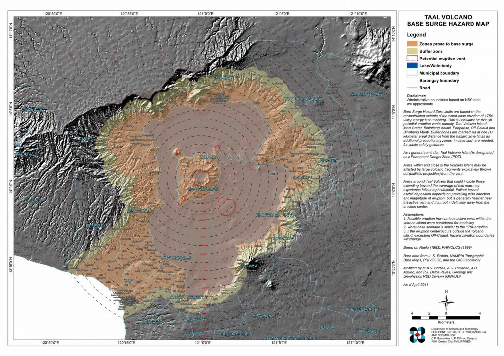 Hazard map, produced in 2011, showing the extent of a worst-case scenario base surge, where eruptive material shoots out in all directions. Credit: PHIVOLCS