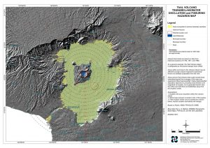 Hazard map, produced in 2011, showing the extent of a worst-case scenario volcano-tsunami, where the lake water is displaced, causing large waves to slosh back and forth. Credit: PHIVOLCS