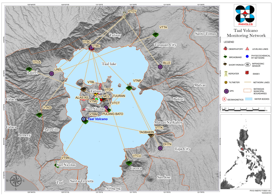 Taal Volcano Monitoring Network, showing where important instrument has been installed by PHIVOLCS. Credit: PHIVOLCS