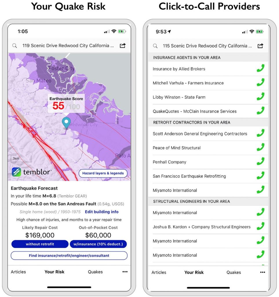 Temblor's in-app provider list connects users with earthquake preparedness professionals and products
