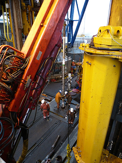 The Japan Trench Fast Drilling Project (JFAST), part of the International Ocean Discovery Program, sampled the fault zone that hosted the Tohoku-Oki earthquake in March 2011. The drill core contains sediments used for various scientific analyses. Credit: James Kirkpatrick